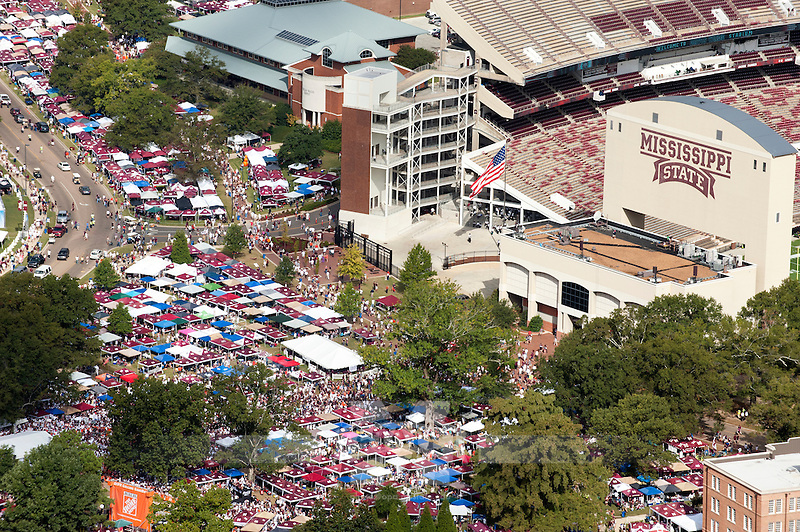 Tailgating in the Junction prior to kickoff vs Auburn. (photo by Beth Wynn / © Mississippi State University)