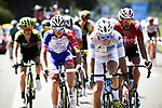 White Jersey Pierre Latour (FRA) AG2R La Mondiale leads the breakaway group during Stage 15 of the 2018 Tour de France running 218km from Carcassonne to Bagneres-de-Luchon, France. 24th July 2018. <br /> Picture: ASO/Pauline Ballet | Cyclefile<br /> All photos usage must carry mandatory copyright credit (© Cyclefile | ASO/Pauline Ballet)