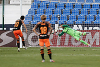 12th July 2020; Estadio Municipal de Butarque, Madrid, Spain; La Liga Football, Club Deportivo Leganes versus Valencia; Ivan Cuellar (CD Leganes) saves the penalty taken by Dani Parejo (Valencia CF)