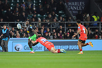 Gabriel Ibitoye of Harlequins is tackled by Jaco Taute of Leicester Tigers during Big Game 12 in the Gallagher Premiership Rugby match between Harlequins and Leicester Tigers at Twickenham Stadium on Saturday 28th December 2019 (Photo by Rob Munro/Stewart Communications)