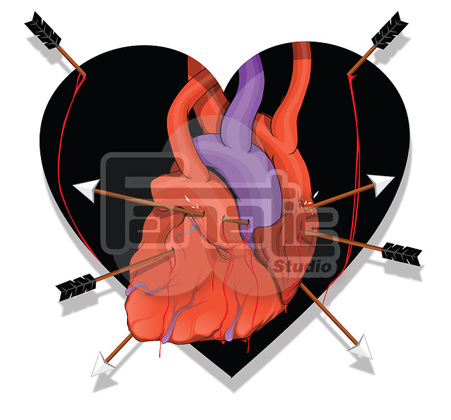 Illustrative image of heart with arrows representing breakup