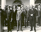 "NASA Administrator James E. Webb (center) cites the space achievements of the Project Mercury Astronauts who received the 1963 Collier Trophy Award in a ceremony held at the White House on October 10, 1963. President John F. Kennedy (left) and Vice President Lyndon Johnson accompanied Webb at the ceremony. Five of the Mercury Seven astronauts are visible in the row behind James Webb. They are (starting from JFK's left): Alan Shepard, Donald ""Deke"" Slayton, John Glenn, Virgil ""Gus"" Grissom, and Scott Carpenter..Credit: NASA via CNP"