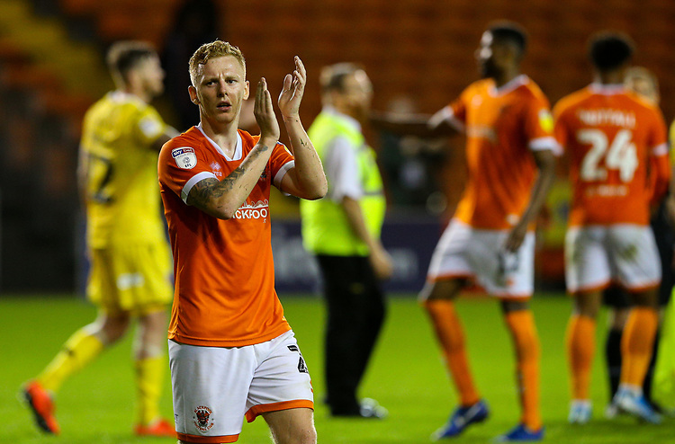 Blackpool's Callum Guy applauds the fans<br /> <br /> Photographer Alex Dodd/CameraSport<br /> <br /> EFL Leasing.com Trophy - Northern Section - Group G - Blackpool v Morecambe - Tuesday 3rd September 2019 - Bloomfield Road - Blackpool<br />  <br /> World Copyright © 2018 CameraSport. All rights reserved. 43 Linden Ave. Countesthorpe. Leicester. England. LE8 5PG - Tel: +44 (0) 116 277 4147 - admin@camerasport.com - www.camerasport.com