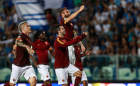 """Calcio, Serie A: Empoli vs Roma. Empoli, stadio """"Carlo Castellani"""" 13 settembre 2014. <br /> From left, Roma players Radja Nainggolan, Gervinho, Miralem Pjanic and Daniele De Rossi greet fans at the end of the Italian Serie A football match between Empoli and AS Roma at Empoli's """"Carlo Castellani"""" stadium, 13 September 2014. Roma won 1-0.<br /> UPDATE IMAGES PRESS/Isabella Bonotto"""