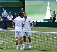 JO-WILFRED TSONGA (FRA) (12) against NOVAK DJOKOVIC (SRB) (2) in the Semi-Finals of the Gentlemen's Singles. Novak Djokovic beat Jo-Wilfred Tsonga 7-6 6-2 6-7 6-3..Tennis - Grand Slam - Wimbledon - AELTC - London- Day 11 - Fri July 1st 2011..© AMN Images, Barry House, 20-22 Worple Road, London, SW19 4DH, UK..+44 208 947 0100.www.amnimages.photoshelter.com.www.advantagemedianetwork.com.