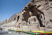 Large Buddha statue carvings at the Yungang Grottoes in Datong, China
