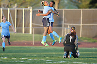 Piscataway, NJ, April 24, 2016.  Tasha Kai (32) of  Sky Blue FC  celebrates scoring with teammate Maya Hayes (5) as teammate Kelley O'Hara and Washington Spirit goalkeeper Stephanie Labbe (1) look on. The Washington Spirit defeated Sky Blue FC 2-1 during a National Women's Soccer League (NWSL) match at Yurcak Field.
