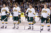 Jack Downing (Vermont - 21), Viktor Stålberg (Vermont - 18), Jonathan Higgins (Vermont - 25), Josh Burrows (Vermont - 22) - The Boston College Eagles defeated the University of Vermont Catamounts 4-0 in the Hockey East championship game on Saturday, March 22, 2008, at TD BankNorth Garden in Boston, Massachusetts.