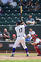 Toby Thomas (17) of the Winston-Salem Dash at bat against the Salem Red Sox at BB&T Ballpark on May 31, 2015 in Winston-Salem, North Carolina.  The Red Sox defeated the Dash 6-5.  (Brian Westerholt/Four Seam Images)
