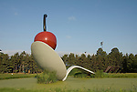 Minnesota, Twin Cities, Minneapolis-Saint Paul: Sculpture Spoonbridge and Cherry by Claes Oldenburg at the Minnesota Sculpture Garden next to the Walker Art Center..Photo mnqual210-75116..Photo copyright Lee Foster, www.fostertravel.com, 510-549-2202, lee@fostertravel.com.