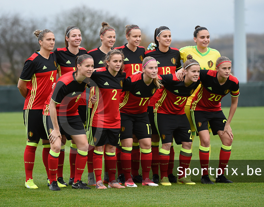 20171123 - TUBIZE , BELGIUM : Belgian team pictured during a friendly game between the women teams of the Belgian Red Flames and Russia at complex Euro 2000 in Tubize , Thursday  23 October 2017 ,  PHOTO Dirk Vuylsteke | Sportpix.Be