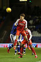 Fleetwood Town's George Glendon (right) during the Sky Bet League 1 match between Oldham Athletic and Fleetwood Town at Boundary Park, Oldham, England on 26 December 2017. Photo by Juel Miah / PRiME Media Images.