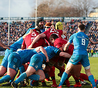 12th January 2020; RDS Arena, Dublin, Leinster, Ireland; Heineken Champions Champions Cup Rugby, Leinster versus Lyon Olympique Universitaire; Lyon drive the maul forward - Editorial Use