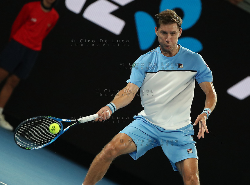 16th January 2019, Melbourne Park, Melbourne, Australia; Australian Open Tennis, day 3; Rafae l  Matthew Eden of Australia serve <br /> during a match  against Nadal of Spain