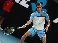 16th January 2019, Melbourne Park, Melbourne, Australia; Australian Open Tennis, day 3; Rafae l  Matthew Eden of Australia serve <br /> during a match  against Nadal of Spain