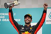 1st October 2017, Sepang, Malaysia;  FIA Formula One World Championship, Grand Prix of Malaysia, 3 Daniel Ricciardo (AUS, Red Bull Racing),  celebrates on the podium