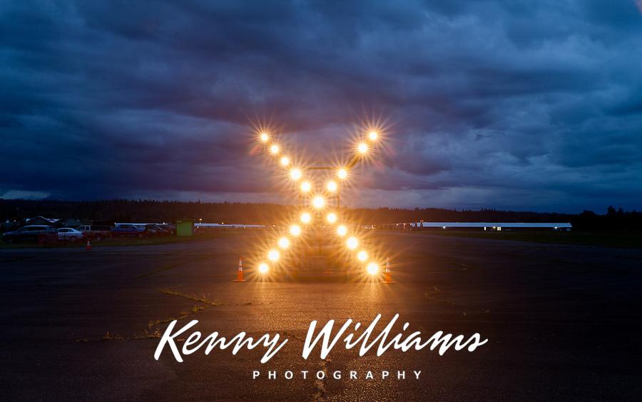 X Airport Runway Lights at Night, Arlington Fly-In 2016, WA, USA