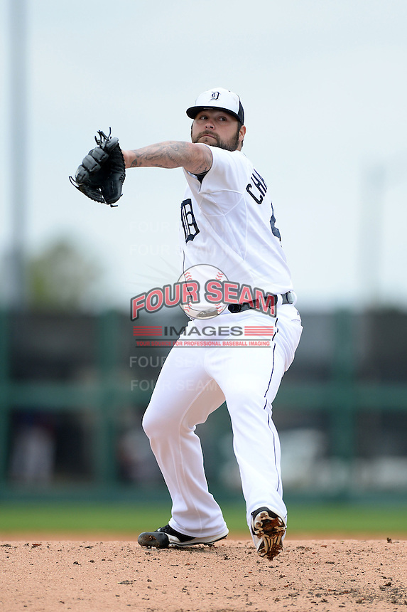 Detroit Tigers pitcher Joba Chamberlain (44) during a spring training game against the Atlanta Braves on February 27, 2014 at Joker Marchant Stadium in Lakeland, Florida.  Detroit defeated Atlanta 5-2.  (Mike Janes/Four Seam Images)