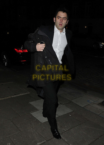 Ronnie O'Sullivan.The Mane Chance Sanctuary dinner & auction, Koffman's, Wilton Place, London, England..February 25th, 2013.full length black jacket coat trousers white shirt.CAP/CAN.©Can Nguyen/Capital Pictures.