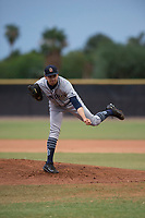 AZL Padres 1 starting pitcher Omar Cruz (10) follows through on his delivery during an Arizona League game against the AZL Padres 2 at Peoria Sports Complex on July 14, 2018 in Peoria, Arizona. The AZL Padres 1 defeated the AZL Padres 2 4-0. (Zachary Lucy/Four Seam Images)