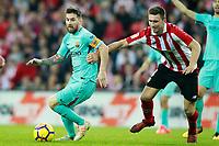 Athletic de Bilbao's Aymeric Laporte (r) and FC Barcelona's Leo Messi during La Liga match. October 28,2017. (ALTERPHOTOS/Acero) /NortePhoto.com