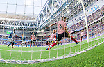 Stockholm 2014-08-31 Fotboll Allsvenskan Djurg&aring;rdens IF - Malm&ouml; FF :  <br /> Djurg&aring;rdens Haris Radetinac g&ouml;r 1-0 bakom Malm&ouml;s Markus Halsti <br /> (Foto: Kenta J&ouml;nsson) Nyckelord:  Djurg&aring;rden DIF Tele2 Arena Malm&ouml; MFF jubel gl&auml;dje lycka glad happy remote remotekamera