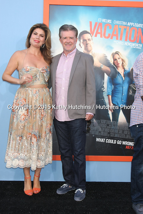 "LOS ANGELES - JUL 27:  Tanya Callau, Alan Thicke at the ""Vacation"" Premiere at the Village Theater on July 27, 2015 in Westwood, CA"