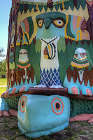 World&rsquo;s Largest Concrete Totem Pole, the park features a 90 foot totem pole that towers over the park in a vivid array of folk art colors.  Located near Route 66, Foyl Oklahoma.<br /> <br /> Ed Galloway built the totem pole over an 11 year period from 1937 to 1948, utilizing some 28 tons of cement, six tons of steel, and 100 tons of sand and rock. His tribute to the American Indian features 200 carved pictures, with four nine-foot Indians near the top each representing a different tribe.