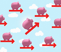 Piggy bank on growth arrow standing out from the crowd