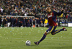 22 November 2009: Salt Lake's Robbie Russell (GHA) takes the championship-winning penalty kick. Real Salt Lake defeated the Los Angeles Galaxy 5-4 on penalty kicks after the teams played to a 1-1 overtime tie at Qwest Field in Seattle, Washington in MLS Cup 2009, Major League Soccer's championship game.