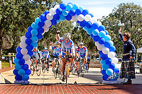 TALLAHASSEE, FLA. 2/15/11-MOFFITT021511 CH01- Tony Handler, age 71 of Poinciana, Fla., center, and other Cure on Wheels cyclists celebrate as they finish their three-day, 300 mile bike ride from Tampa to the Capitol Tuesday in Tallahassee. The group of 15 Cure on Wheels cyclists rode to raise awareness of the need for cancer research funding. Moffitt Cancer Center is the only Florida-based Comprehensive Cancer Center designated by the National Cancer Institute...COLIN HACKLEY PHOTO