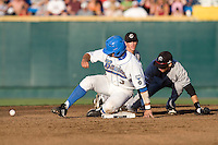 UCLA catcher Steve Rodriguez is safe at second in Game One of the NCAA Division One Men's College World Series Finals on June 28th, 2010 at Johnny Rosenblatt Stadium in Omaha, Nebraska.  (Photo by Andrew Woolley / Four Seam Images)