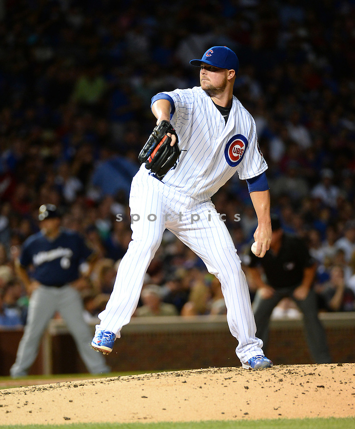 Chicago Cubs Jon Lester (34) during a game against the Milwaukee Brewers on August 17, 2016 at Wrigley Field in Chicago, IL. The Cubs beat the Brewers 6-1.