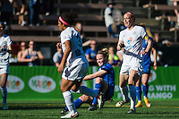 Seattle, WA - Sunday, May 1, 2016: Seattle Reign FC midfielder Kim Little (8) watches her shot go past FC Kansas City goalkeeper Nicole Barnhart (18) for the game winning goal during a National Women's Soccer League (NWSL) match at Memorial Stadium.