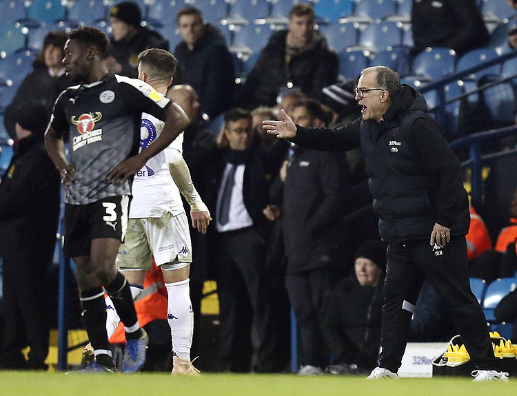Leeds United manager Marcelo Bielsa shouts instructions to his team from the technical area<br /> <br /> Photographer Rich Linley/CameraSport<br /> <br /> The EFL Sky Bet Championship - Leeds United v Reading - Tuesday 27th November 2018 - Elland Road - Leeds<br /> <br /> World Copyright © 2018 CameraSport. All rights reserved. 43 Linden Ave. Countesthorpe. Leicester. England. LE8 5PG - Tel: +44 (0) 116 277 4147 - admin@camerasport.com - www.camerasport.com