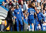 Chelsea's Antonio Conte speaks to David Luiz after he is sent off during the premier league match at Stamford Bridge Stadium, London. Picture date 17th September 2017. Picture credit should read: David Klein/Sportimage