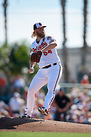 Baltimore Orioles starting pitcher Andrew Cashner (54) delivers a pitch during a Grapefruit League Spring Training game against the Detroit Tigers on March 3, 2019 at Ed Smith Stadium in Sarasota, Florida.  Baltimore defeated Detroit 7-5.  (Mike Janes/Four Seam Images)