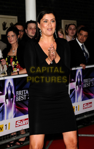 AMANDA LAMB.The Britain's Best 2008 Ceremony, The London Studios, South Bank, London, England..May 18th, 2008.half 3/4 length black dress hands together praying .CAP/CAN.©Can Nguyen/Capital Pictures.