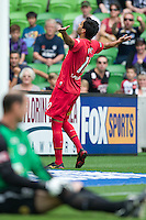 MELBOURNE, AUSTRALIA - JANUARY 09: Marcos Flores of United celebrates his goal during the round 22 A-League match between the Melbourne Victory and Adelaide United at AAMI Park on January 9, 2011 in Melbourne, Australia. (Photo by Sydney Low / Asterisk Images)