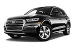 Stock pictures of low aggressive front three quarter view of 2018 Audi Q5 Prestige 5 Door SUV