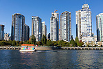 Views from the water in False Creek, downtown, Vancouver, British Columbia, Canada.
