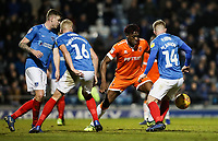 Blackpool's Armand Gnanduillet competing with Portsmouth's Dion Donohue, Jack Whatmough andJoe Mason<br /> <br /> Photographer Andrew Kearns/CameraSport<br /> <br /> The EFL Sky Bet League One - Portsmouth v Blackpool - Saturday 12th January 2019 - Fratton Park - Portsmouth<br /> <br /> World Copyright © 2019 CameraSport. All rights reserved. 43 Linden Ave. Countesthorpe. Leicester. England. LE8 5PG - Tel: +44 (0) 116 277 4147 - admin@camerasport.com - www.camerasport.com