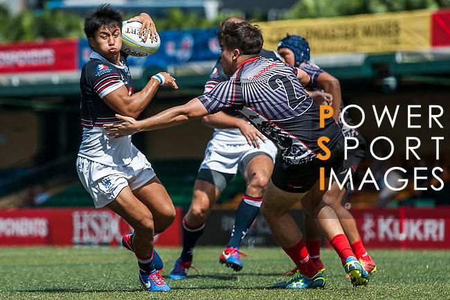 Hong Kong plays Singapore during the ARFU Asian Rugby 7s Round 1 on August 24, 2014 at the Hong Kong Football Club in Hong Kong, China. Photo by Xaume Olleros / Power Sport Images