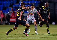 16th July 2020, Orlando, Florida, USA;  New York Red Bulls midfielder Sean Davis (27) and Columbus Crew midfielder Sebastian Berhalter (18) during the MLS Is Back Tournament between the Columbus Crew SC versus New York Red Bulls on July 16, 2020 at the ESPN Wide World of Sports, Orlando FL.