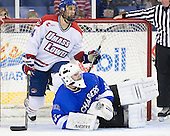 Joseph Pendenza (UML - 14), Clarke Saunders (UAH - 33) - The University of Massachusetts-Lowell River Hawks defeated the University of Alabama-Huntsville Chargers 3-0 on Friday, November 25, 2011, at Tsongas Center in Lowell, Massachusetts.