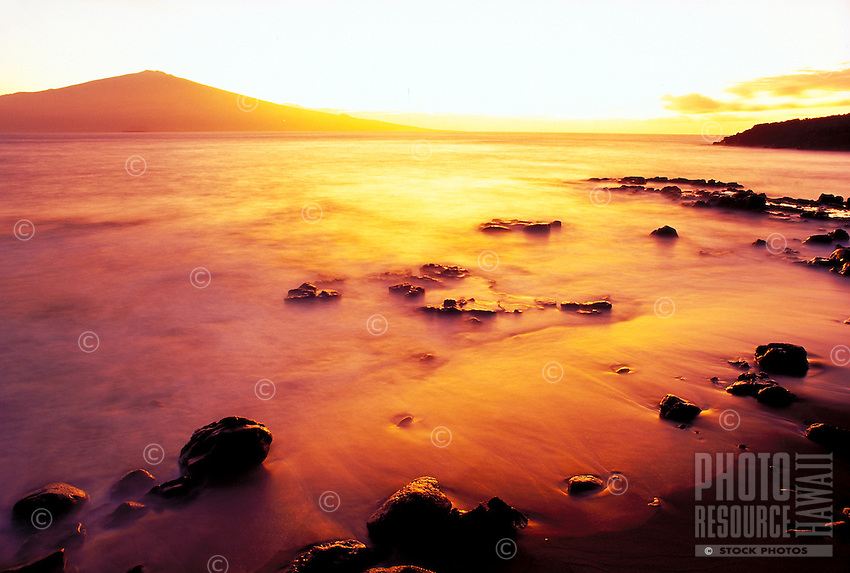 Sunrise looking toward Haleakala, Maui from Kahoolawe