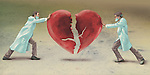 Illustrative image of doctors joining heart representing heart surgery