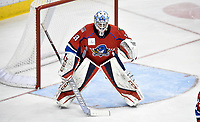 HERSHEY, PA - DECEMBER 01: Springfield Thunderbirds goalie Samuel Montembeault (33) squares up to a shot during the Springfield Thunderbirds at Hershey Bears on December 1, 2018 at the Giant Center in Hershey, PA. (Photo by Randy Litzinger/Icon Sportswire)