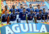 BARRANQUILLA - COLOMBIA - 18 - 03 - 2018: Los jugadores de Millonarios posan para una foto, durante partido de la fecha 9 entre Atletico Junior y Millonarios por la Liga Aguila I - 2018, jugado en el estadio Metropolitano Roberto Melendez de la ciudad de Barranquilla. /  The players of Jaguares F.C. pose for a photo, during a match of the 9th date between Atletico Junior and Millonarios for the Liga Aguila I - 2018 at the Metropolitano Roberto Melendez Stadium in Barranquilla city, Photo: VizzorImage  / Alfonso Cervantes / Cont.