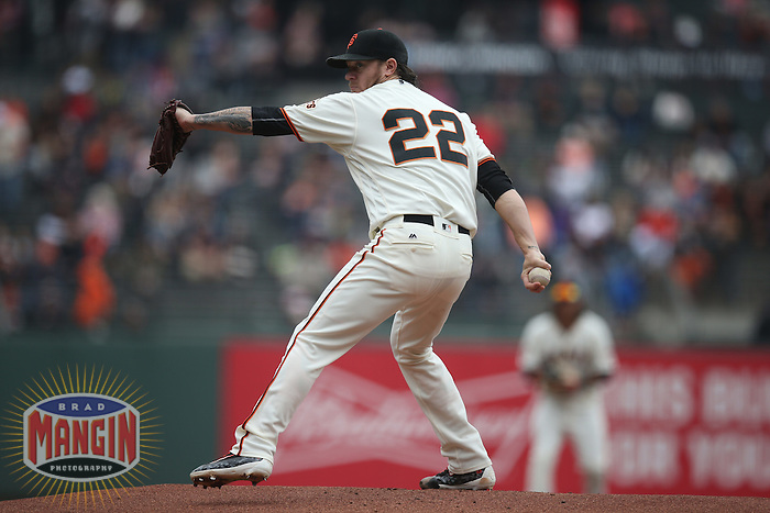 SAN FRANCISCO, CA - MAY 25:  Jake Peavy #22 of the San Francisco Giants pitches against the San Diego Padres during the game at AT&T Park on Wednesday, May 25, 2016 in San Francisco, California. Photo by Brad Mangin